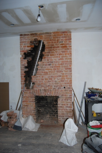 This is the chimney in the rental unit that had to be opened up.